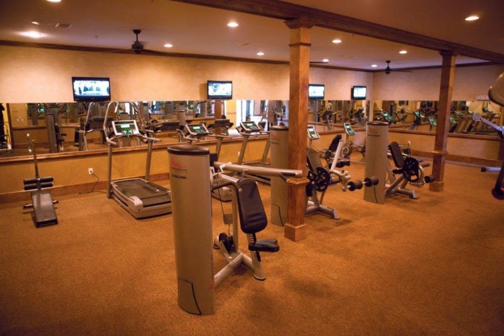 A fully-equipped fitness center at The District at Phenix City in Phenix City, Alabama
