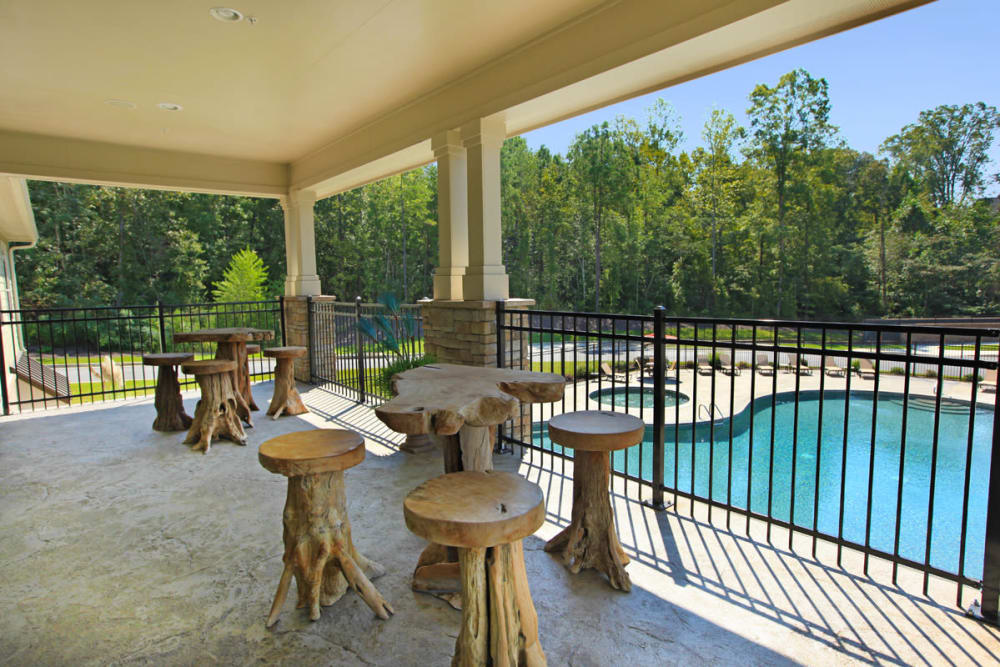 Private balcony with view of our sparkling pool at The District at Phenix City in Phenix City, Alabama