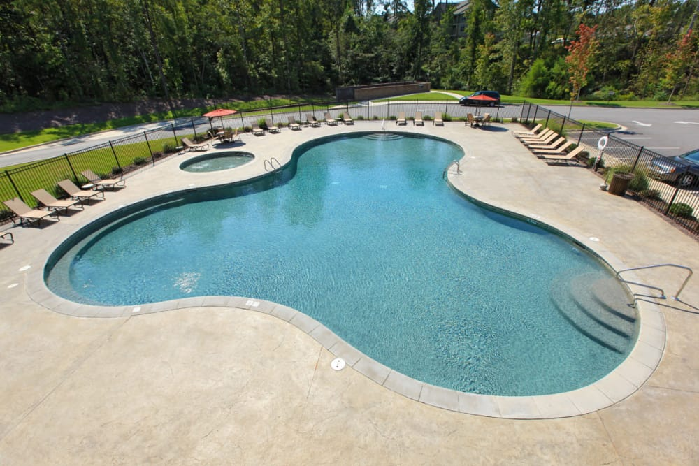 Enjoy a resort-style swimming pool at The District at Phenix City in Phenix City, Alabama
