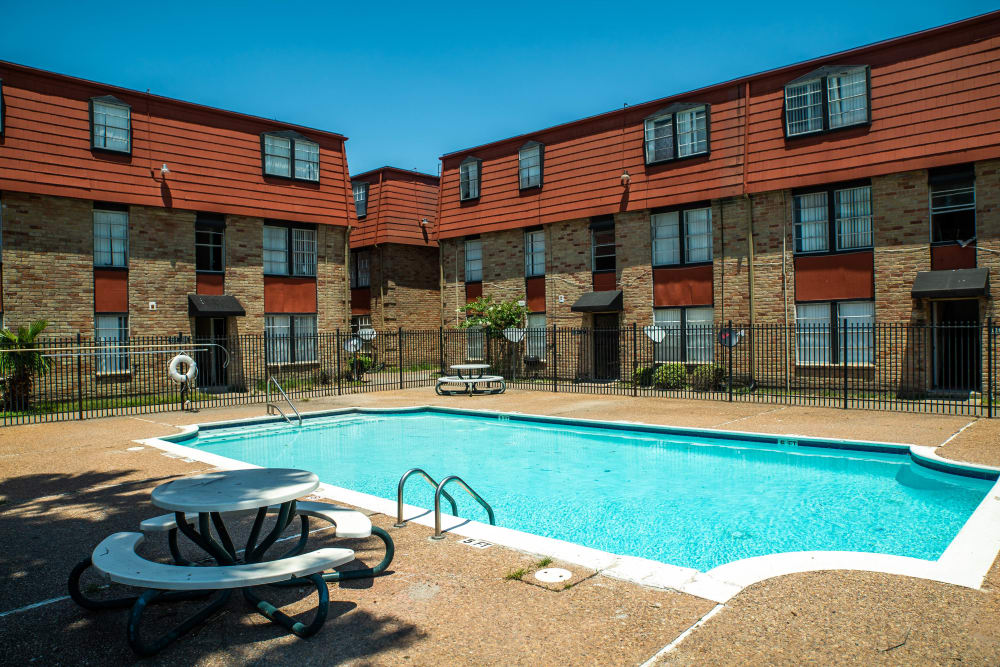 Our swimming pool view at Maple Trail Apartments & Townhomes in Pasadena, Texas