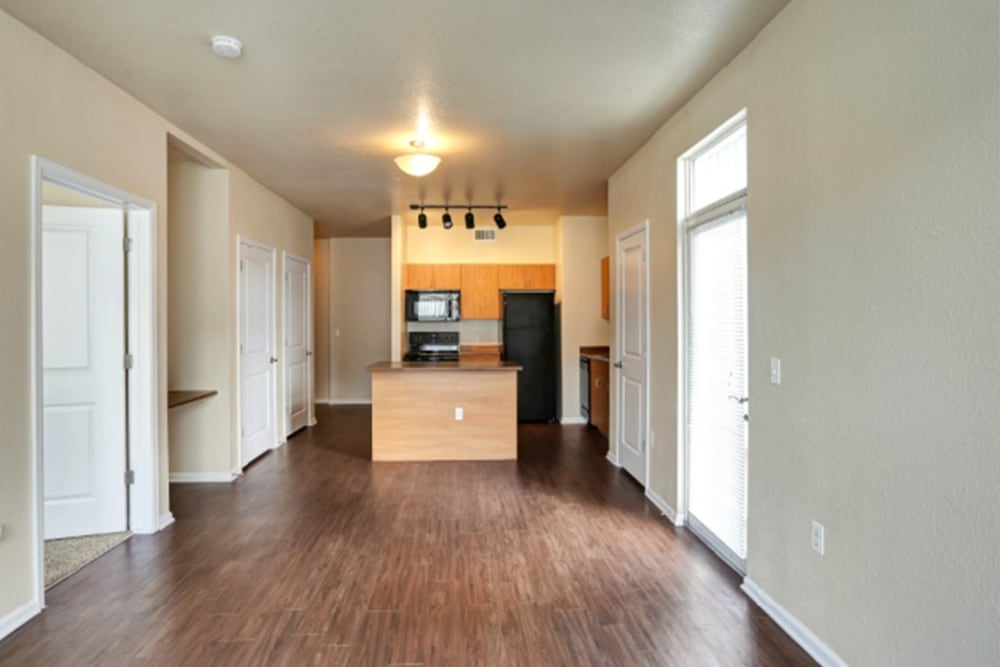 Living Room & Kitchen at Diamond at Prospect Apartments in Denver, Colorado