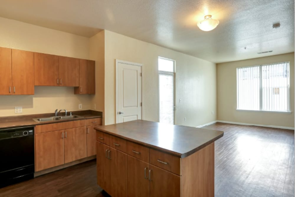 Living Room & Kitchen Island at Diamond at Prospect Apartments in Denver, Colorado