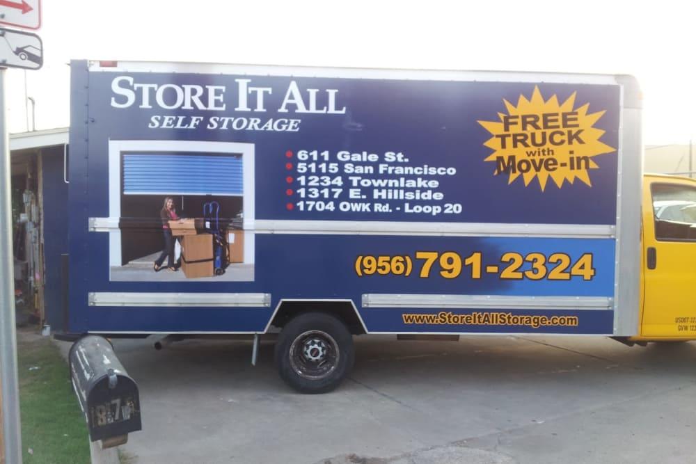 Storage trucks at Store It All Self Storage - Del Norte in Laredo, TX
