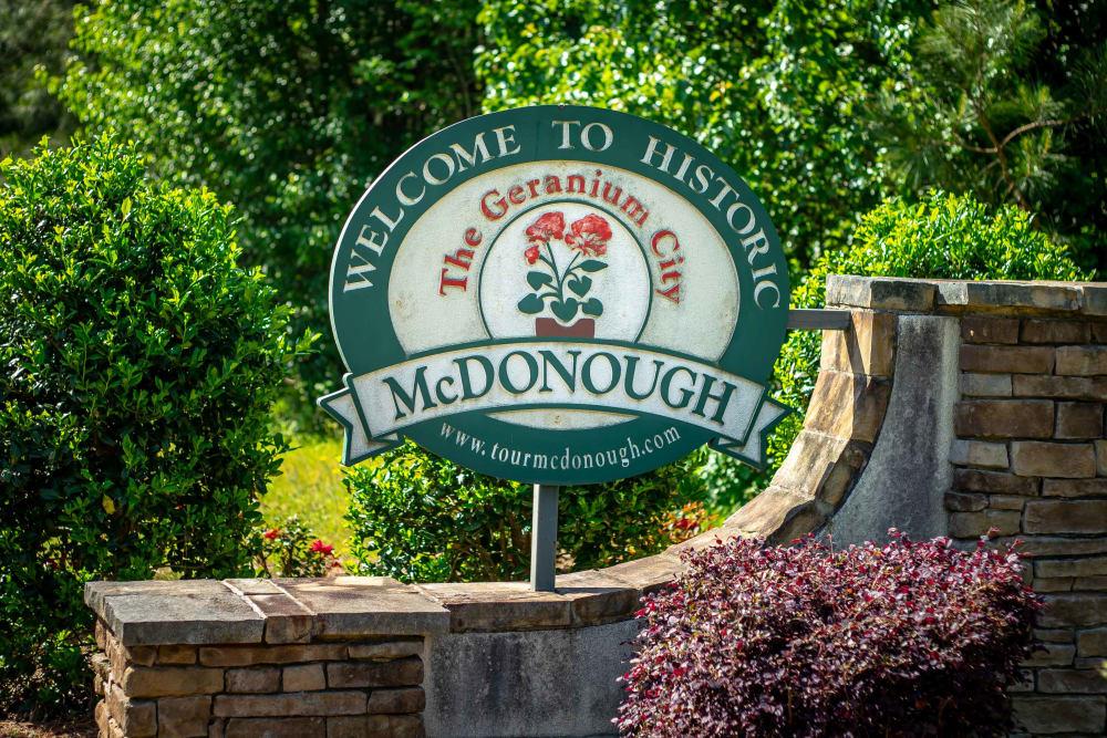 City sign at Haddon Place in McDonough, Georgia