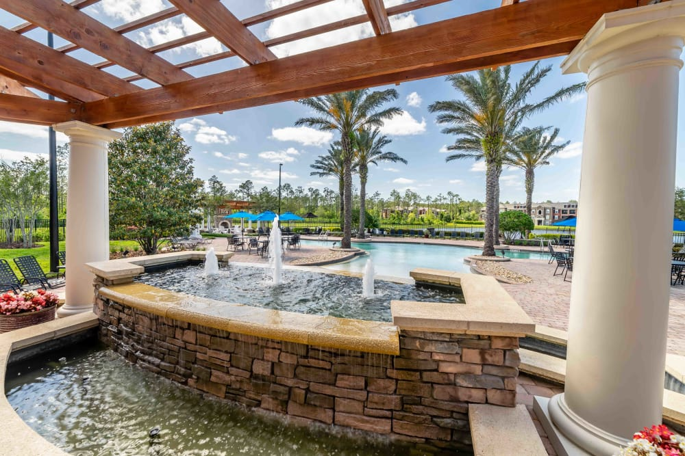 View to the pool at Integra Woods in Palm Coast, Florida