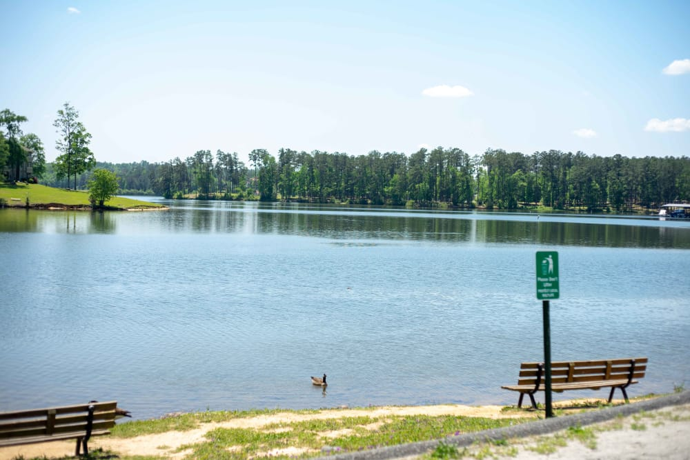 View of a lake near at Pavilion at Plantation Way in Macon, Georgia