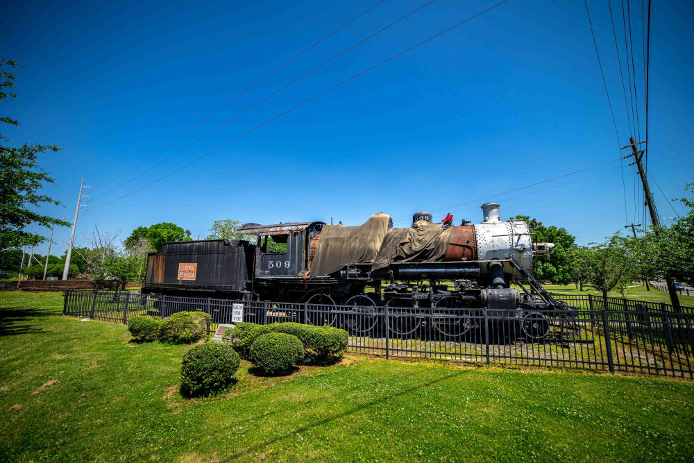 Old carbon train near at Pavilion at Plantation Way in Macon, Georgia