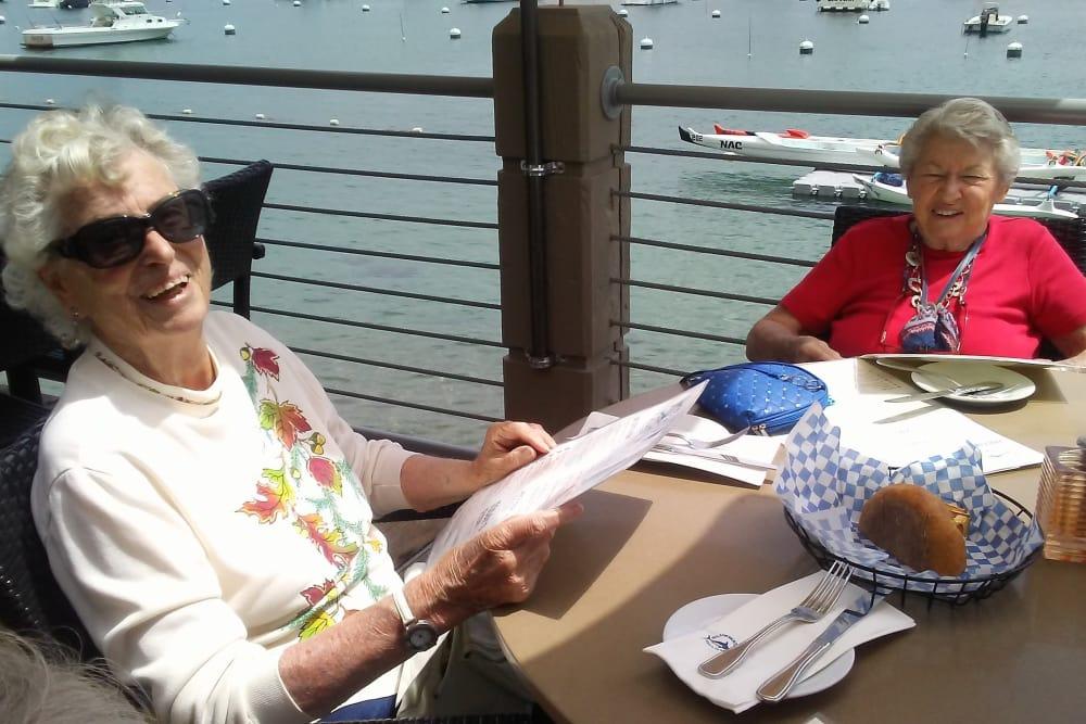 Residents enjoying lunch at the beach in Huntington Beach, CA