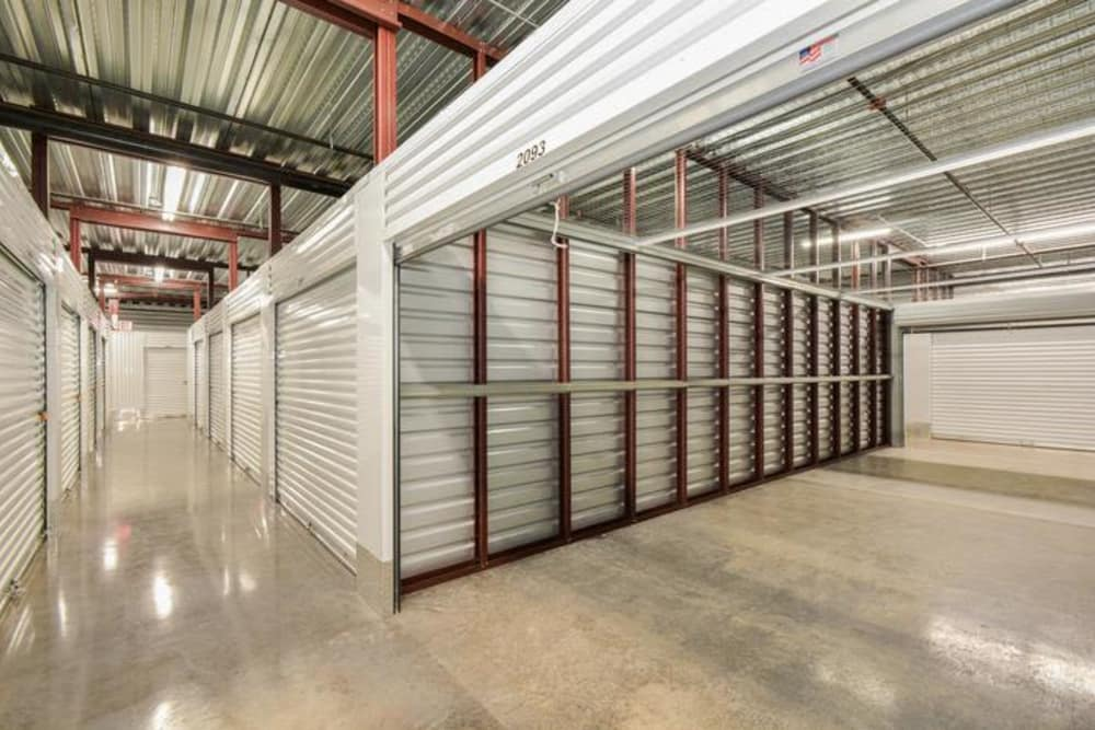 Well-lit storage unit at Space Shop Self Storage in Cary, North Carolina