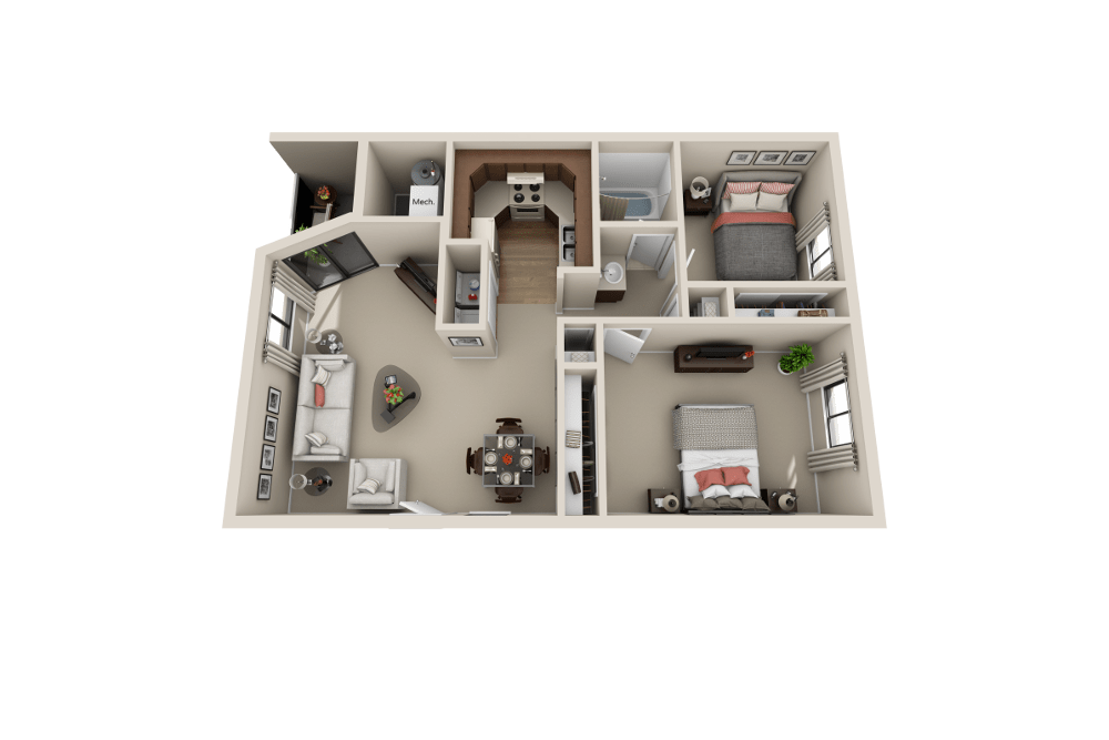 B floor plan at Cherry Creek Apartments in Riverdale, UT