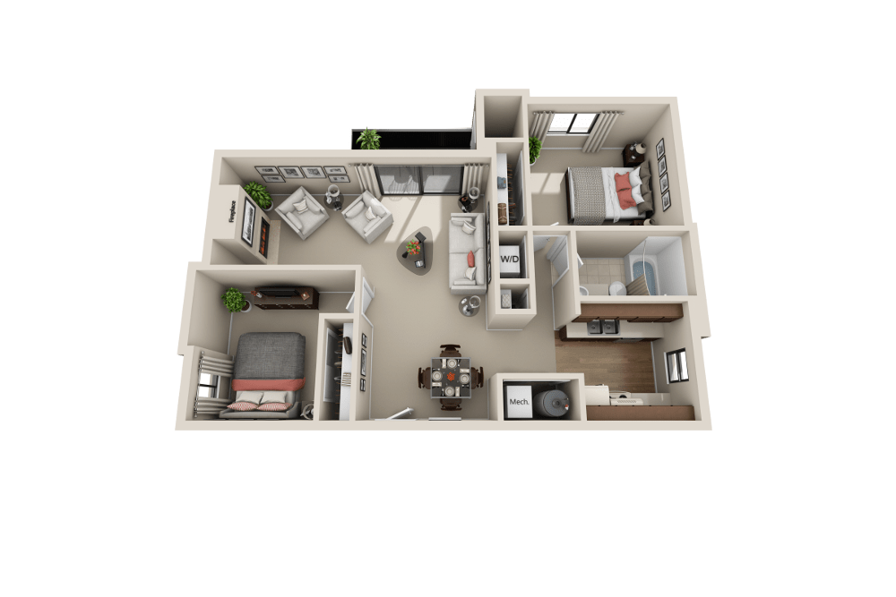 C floor plan at Cherry Creek Apartments in Riverdale, UT