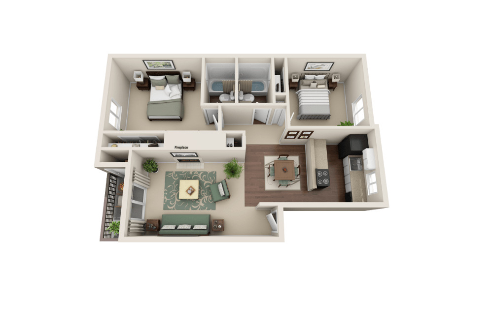 B floor plan at Copperstone Apartment Homes in Everett, WA