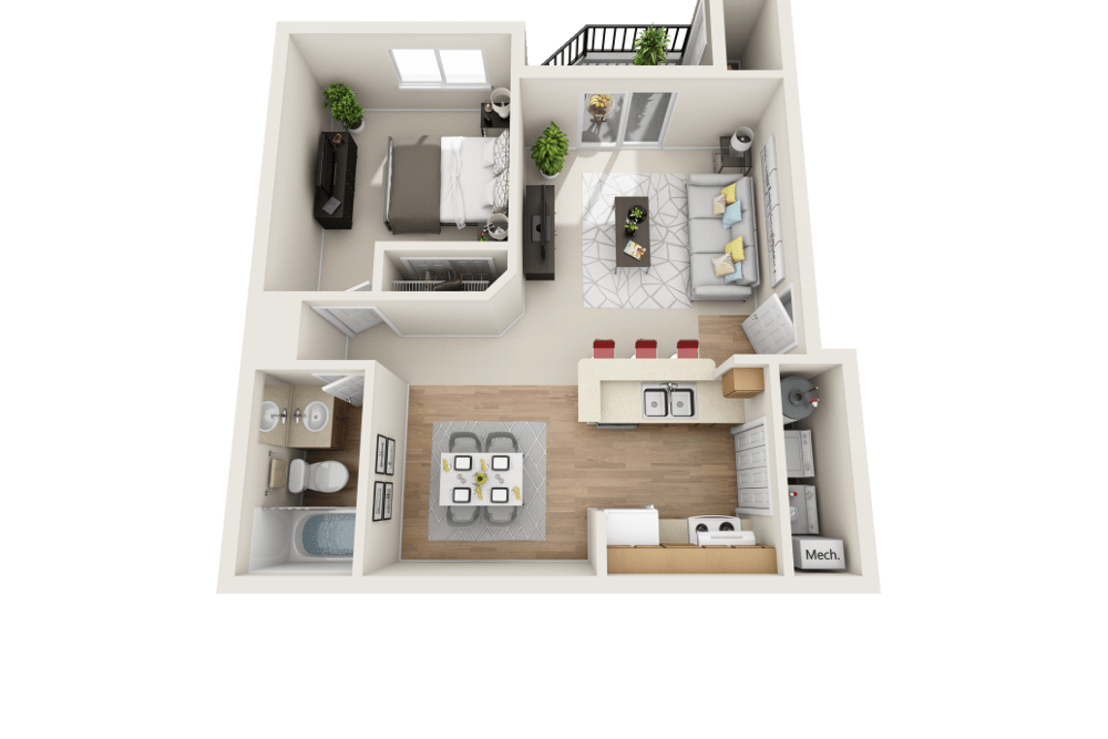 The A floor plan at Arbor Crossing Apartments in Boise, ID