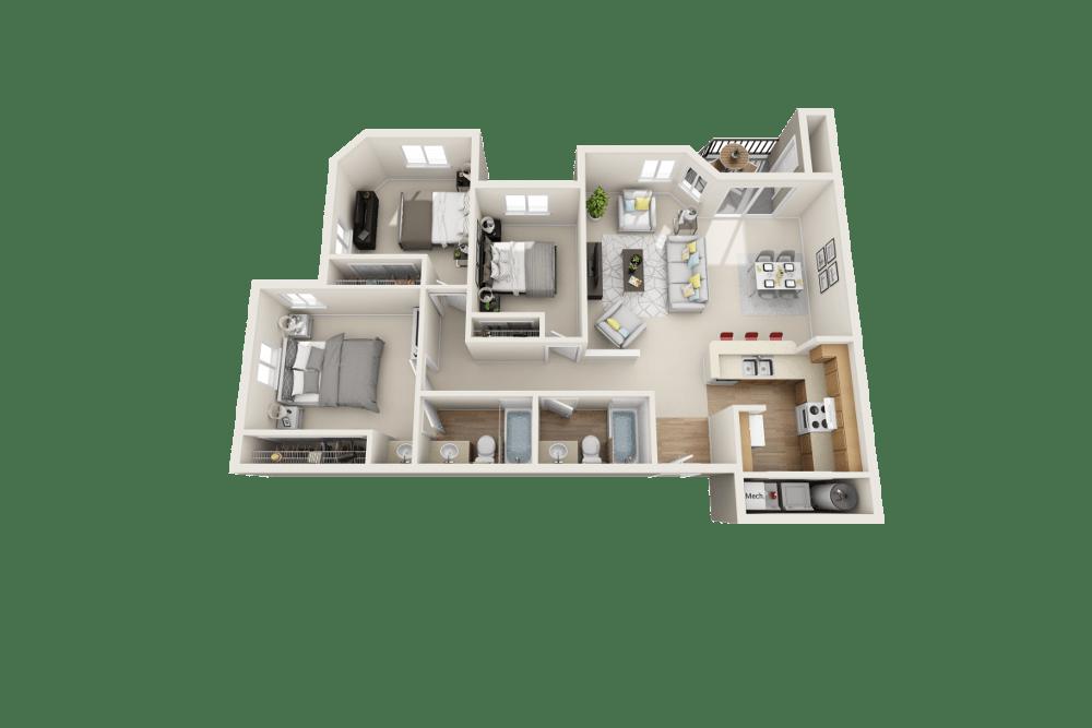 C floor plan at Arbor Crossing Apartments in Boise, ID