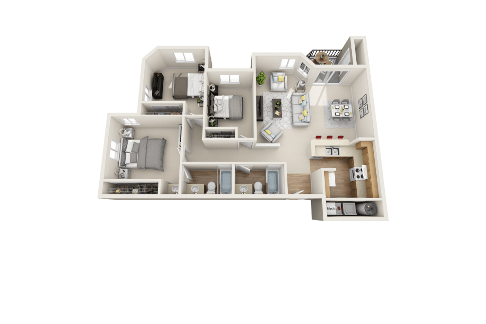 The C floor plan at Arbor Crossing Apartments in Boise and ID