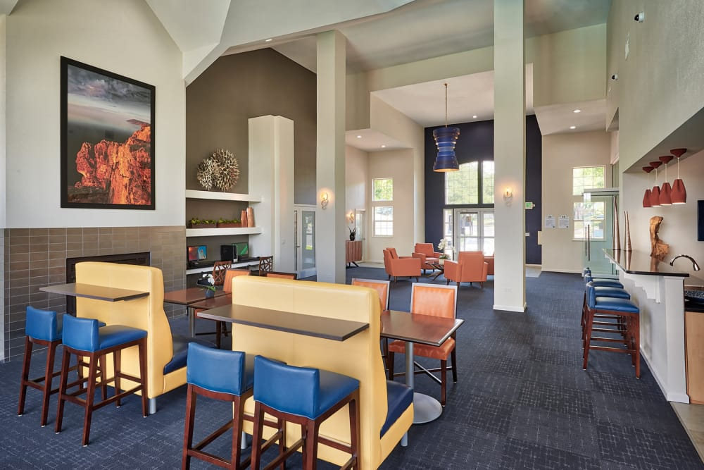 Clubhouse interior at Villas at Homestead Apartments in Englewood, CO