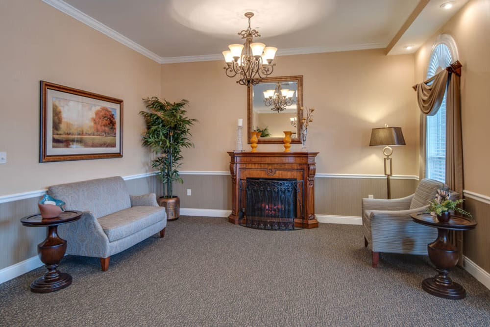 Fireplace at La Bonne Maison Senior Living in Sikeston, Missouri