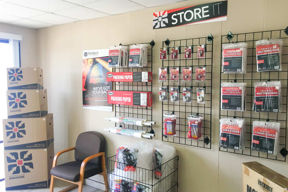 Office and merchandise at StorQuest Self Storage in Canoga Park