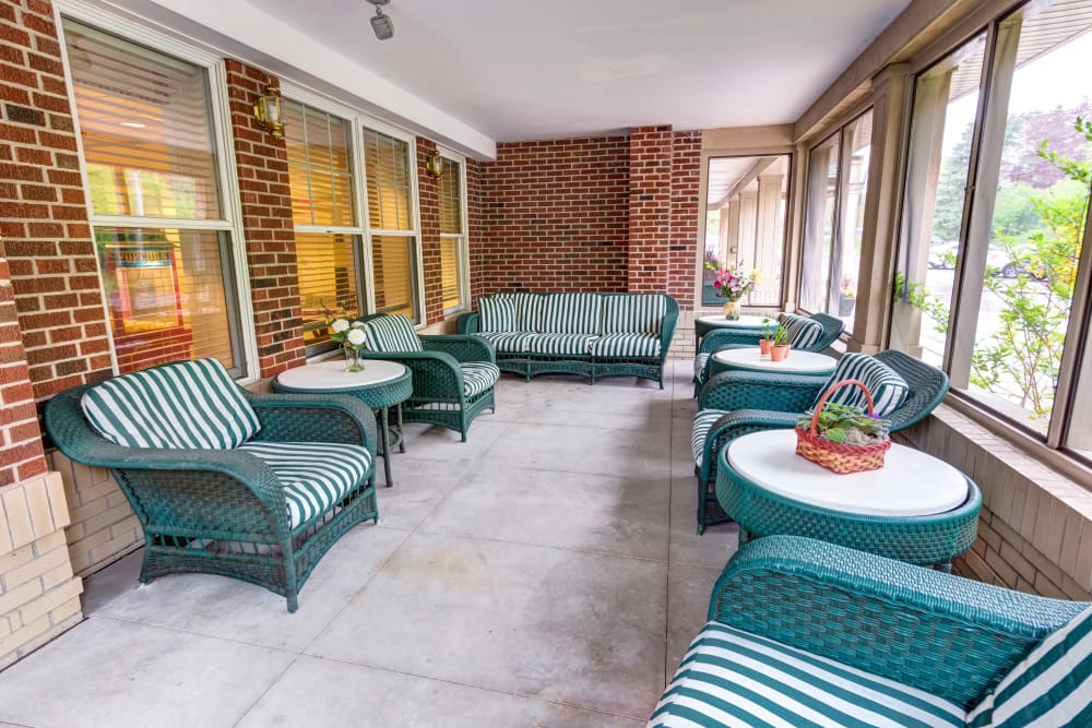 Regent Street Senior Living's beautiful wrap-around porch is a great place to spend a warm summer evening.