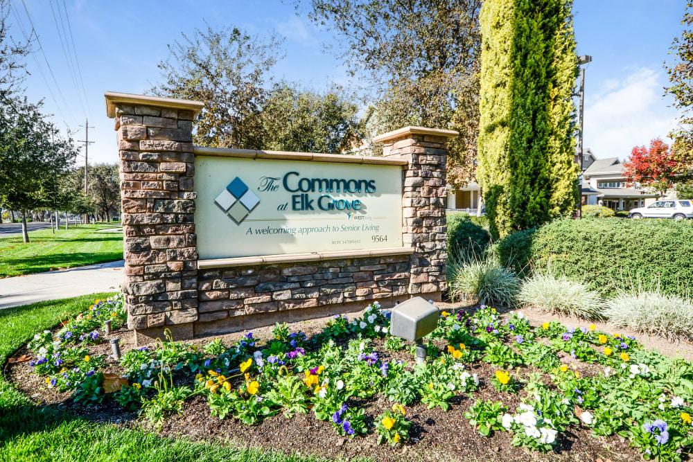 Main sign of The Commons at Elk Grove in Elk Grove, California