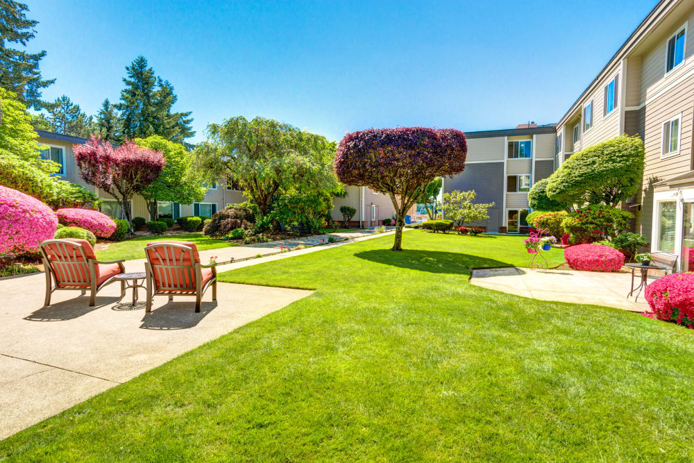 Take some time to relax on our patio at Sagebrook Senior Living at Bellevue