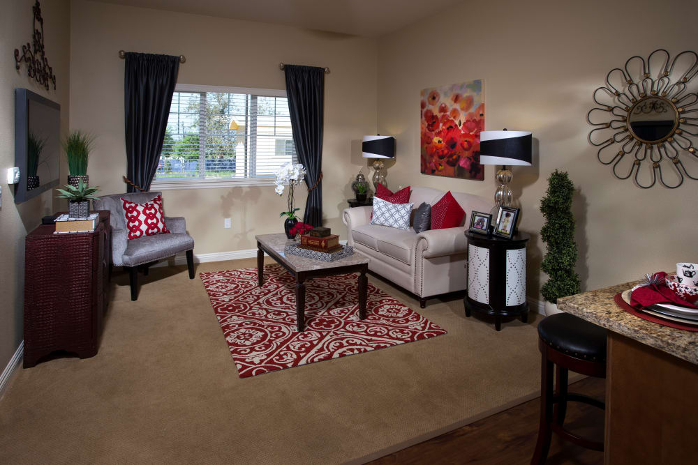 Spacious living room at Estancia Del Sol in Corona, California