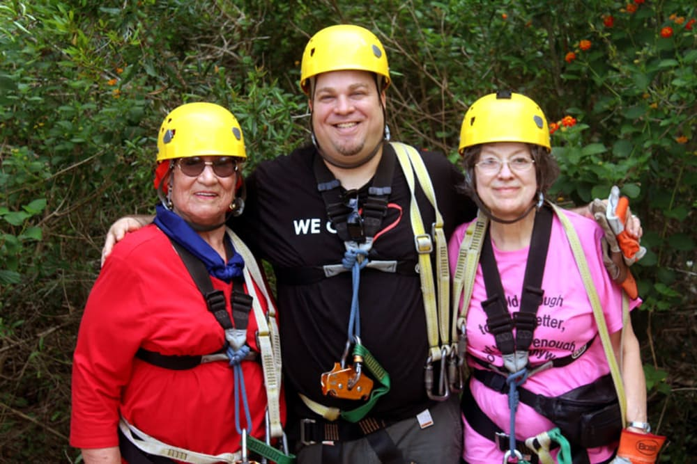 Seniors of Hawthorn Senior Living in Vancouver, Washington on a rock-climbing trip