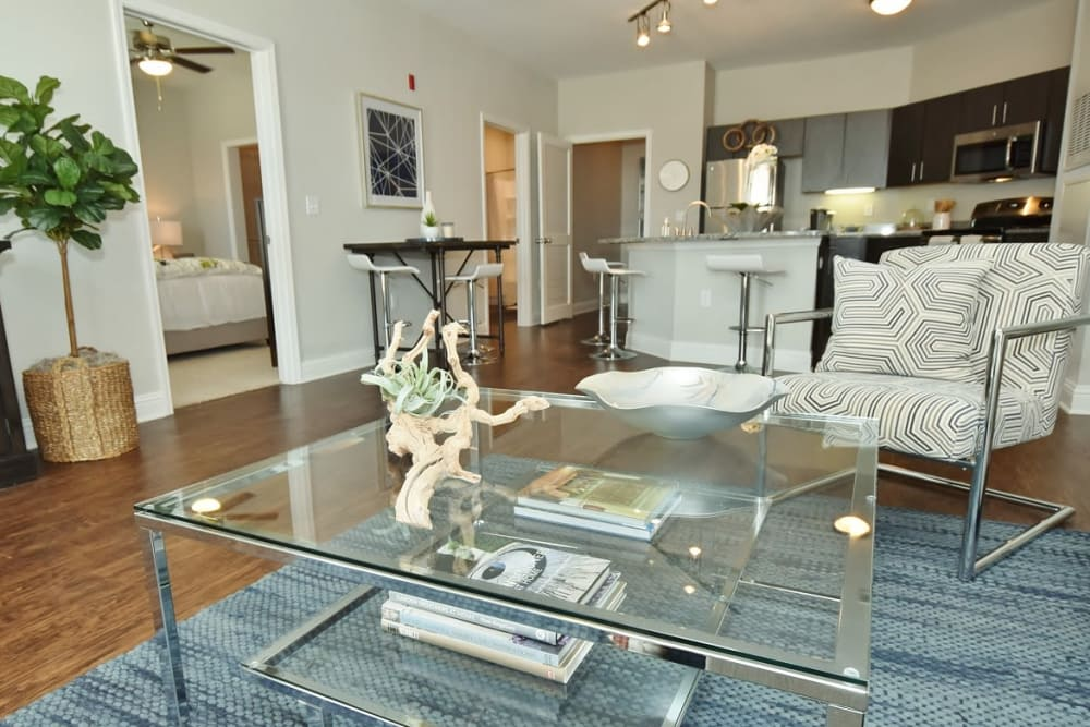 Enjoy apartments with a modern living room at The Reserve at Couret Farms