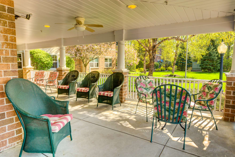 Our patio at Symphony at Olmsted Falls is perfect for warm, summer evenings