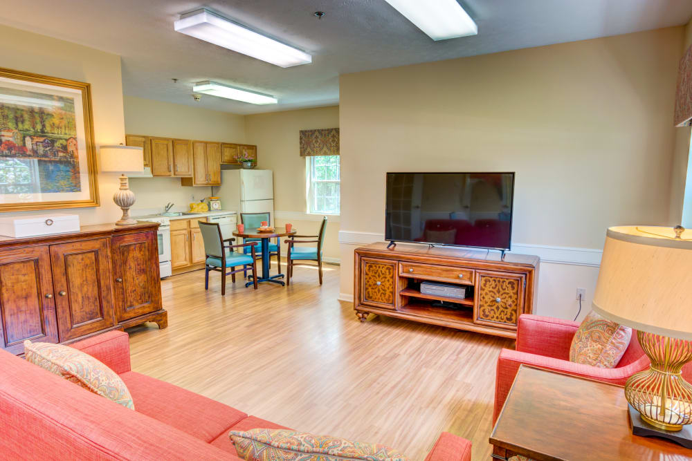 Spacious model living room at Symphony at Olmsted Falls in Olmsted Falls, Ohio