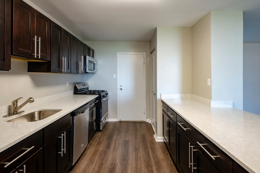 Plenty of counter space in your modern kitchen at The Warwick Apartments