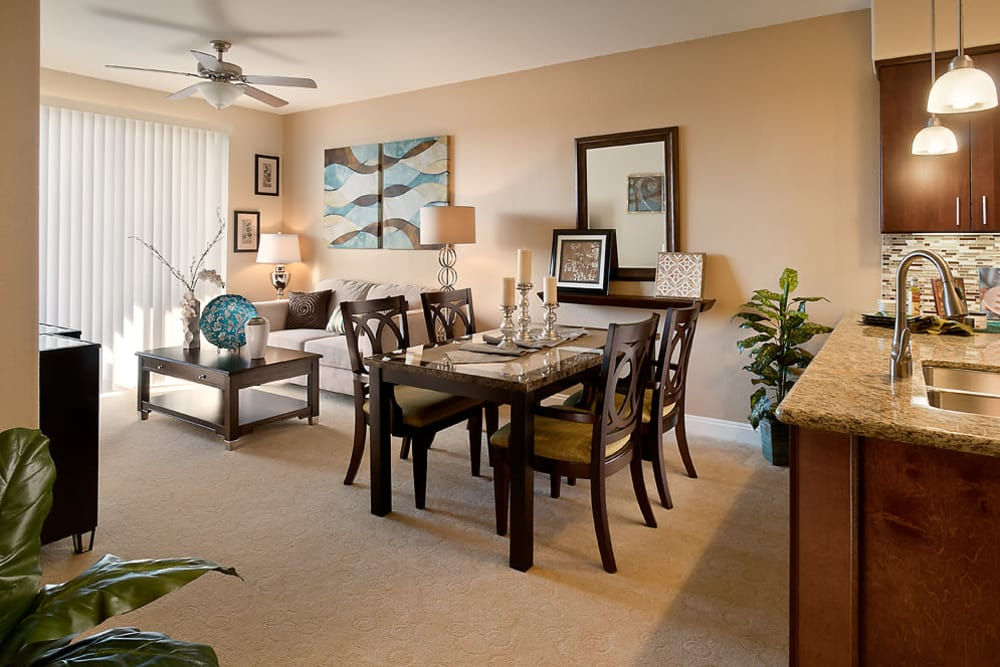 Dining table in well decorated apartment at McDowell Village in Scottsdale, Arizona