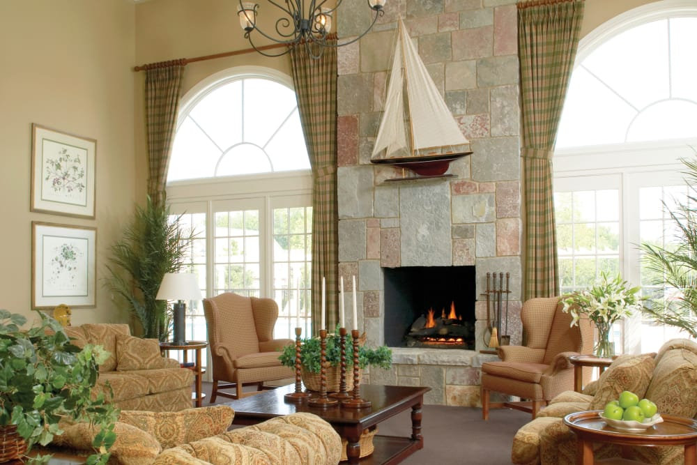 Fireplace in the clubhouse at Legends Rosewood Village in Ypsilanti, MI