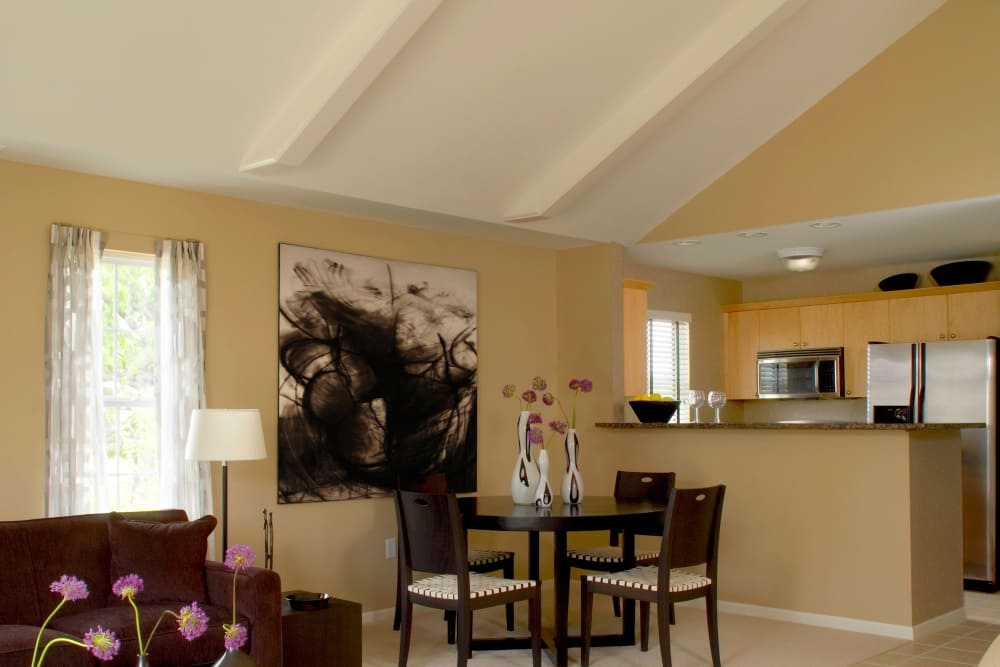 A look at the dining area inside apartment at Legends Rosewood Village in Ypsilanti, MI