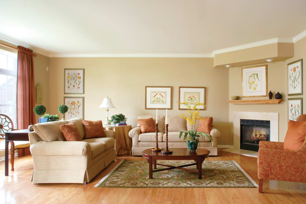 Model living room at Legends Rosewood Village in Ypsilanti, MI