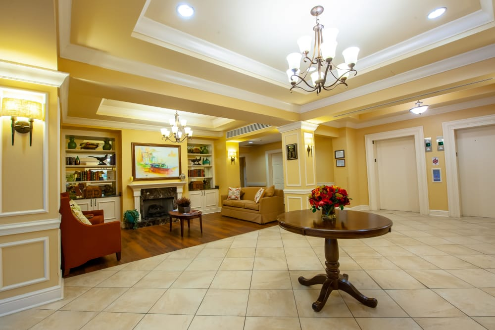 Lobby area at Woodholme Gardens in Pikesville, Maryland