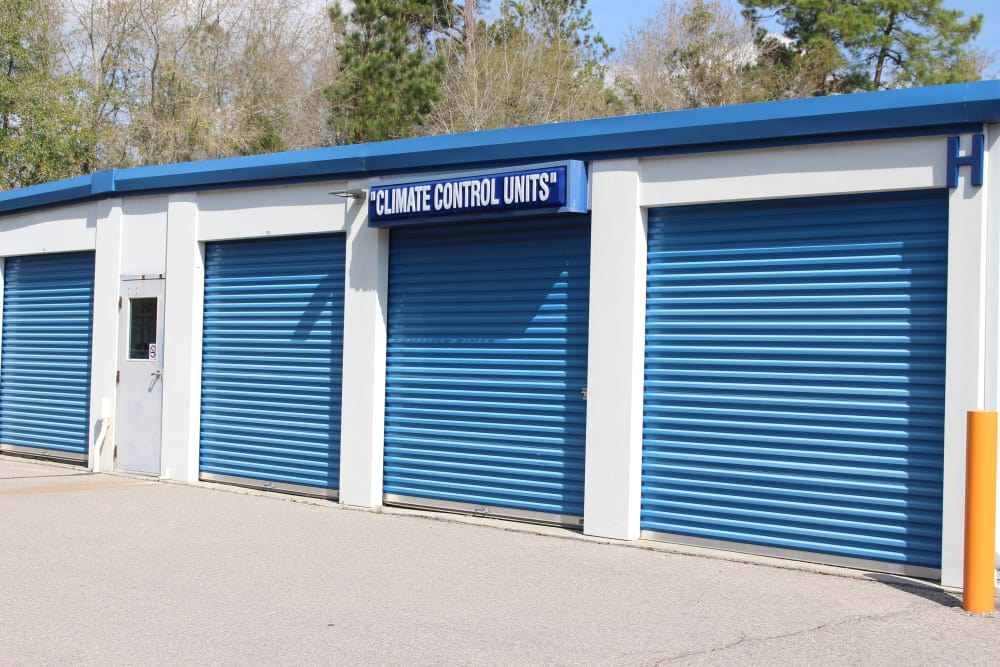 Front view of storage units at Monster Self Storage in Walterboro, South Carolina