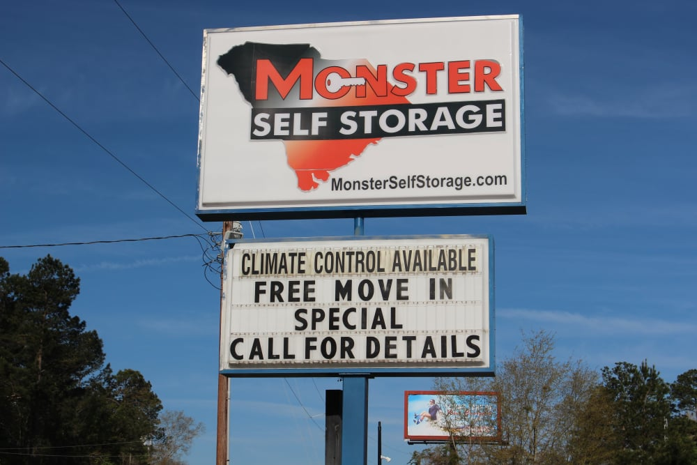 Entrance sign at Monster Self Storage in Walterboro, South Carolina