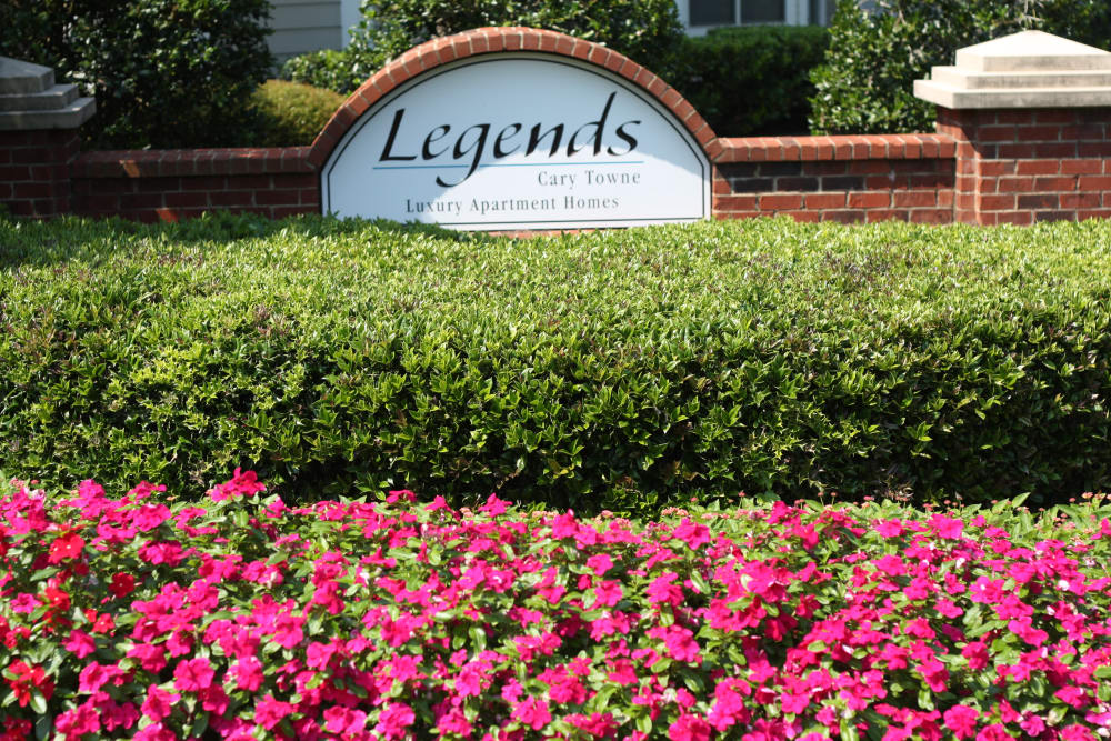 Sign at the entrance to Legends Cary Towne in Raleigh, NC