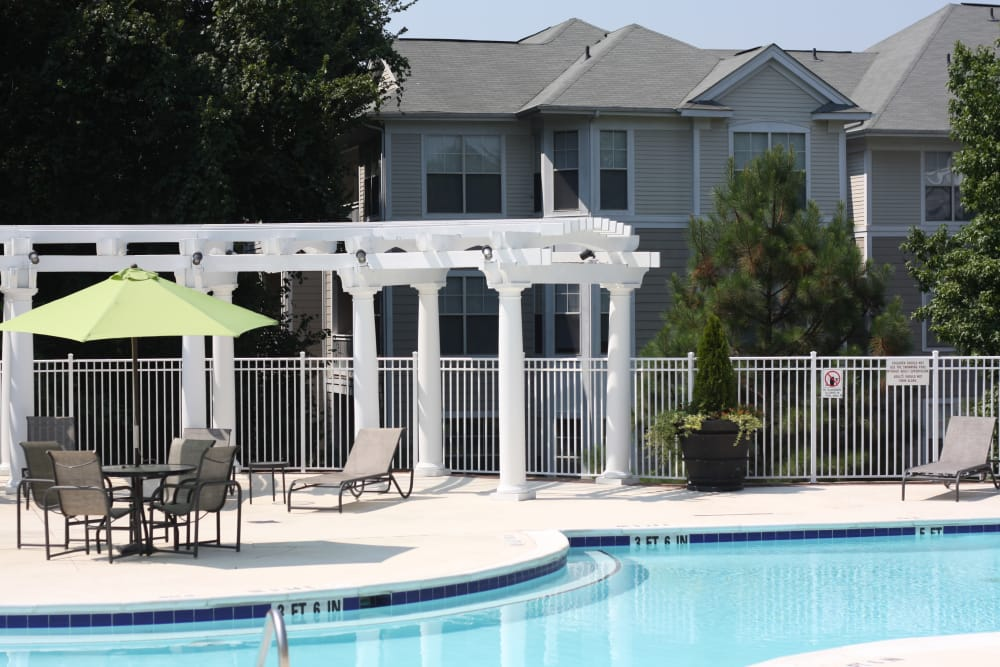 Patio and swimming pool at Legends Cary Towne in Raleigh, NC