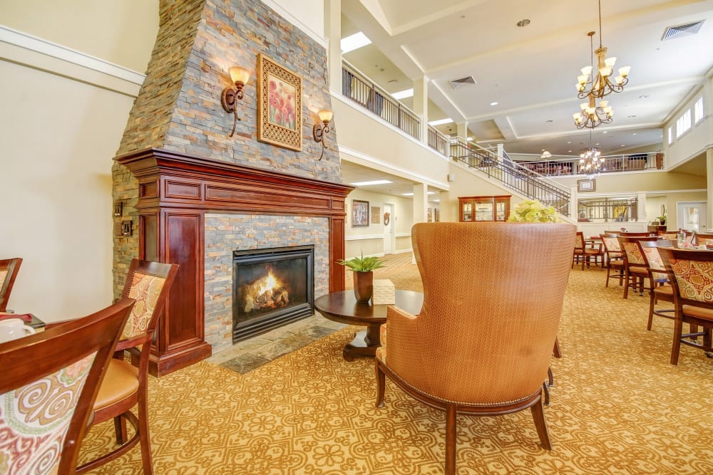 Fireplace and common room at The Commons at Union Ranch in Manteca, California