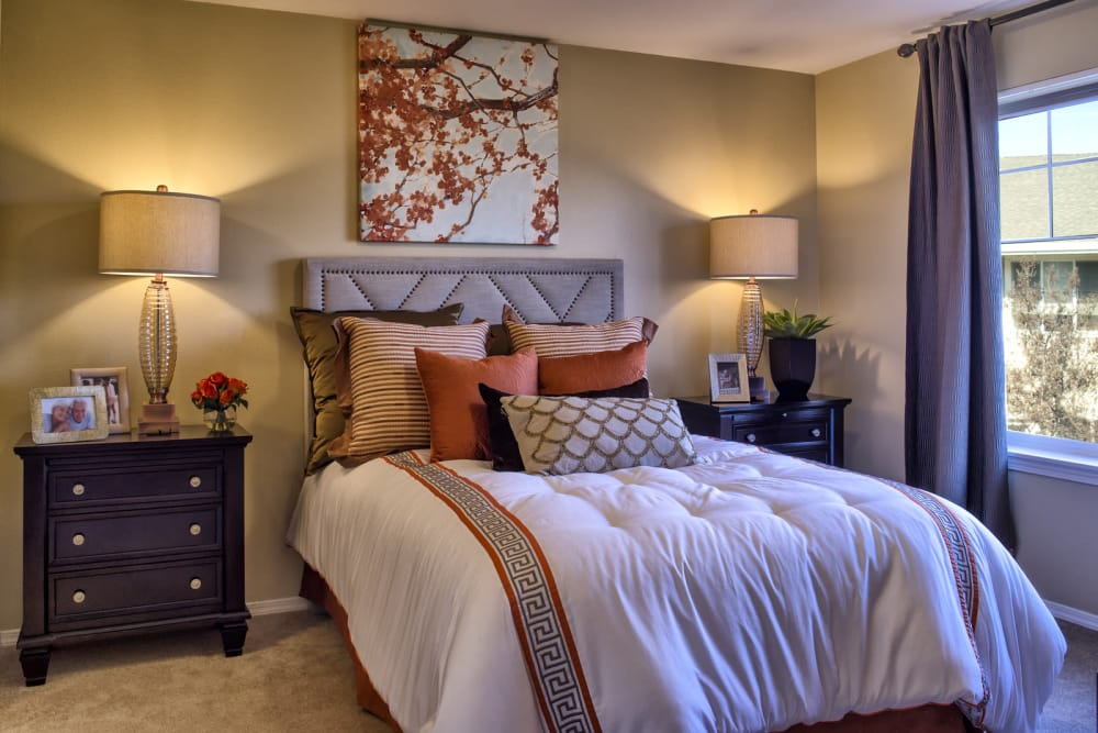 Comfy bedroom at The Commons at Union Ranch in Manteca, California