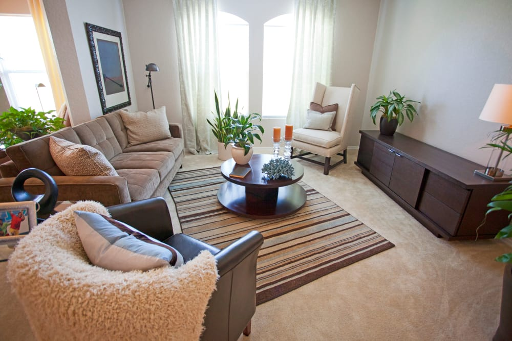 Model living room at Legends Lake Mary in Lake Mary, FL