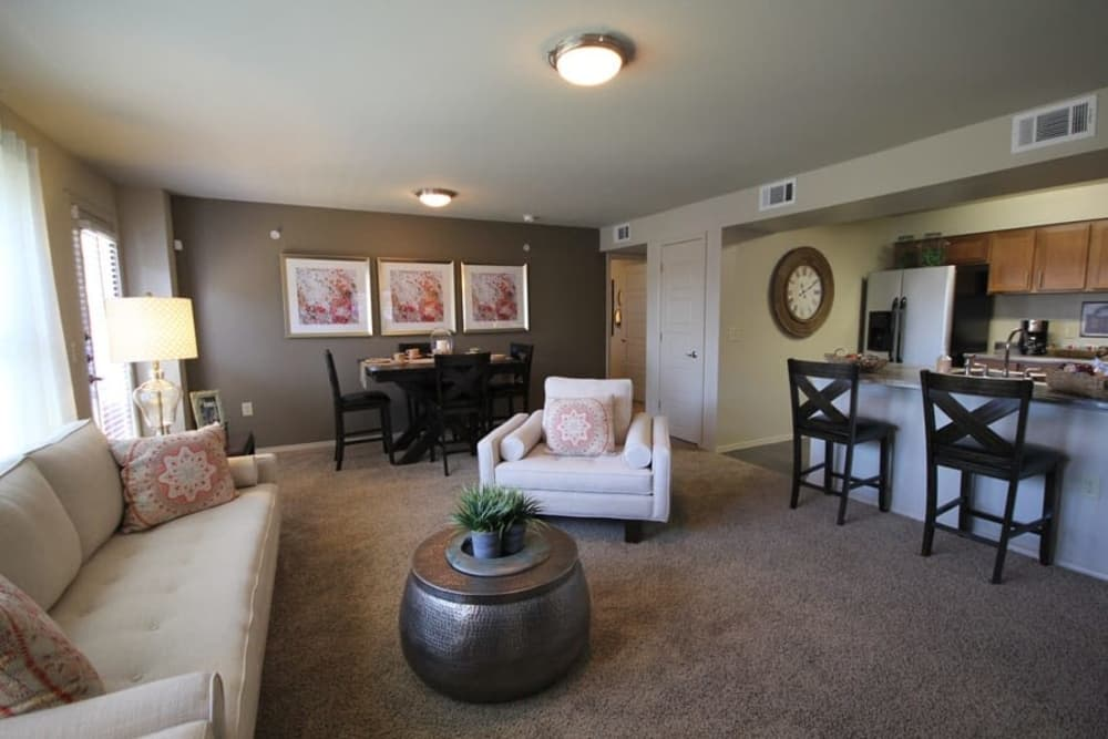 Spacious living room at The Icon at Lubbock in Lubbock, Texas