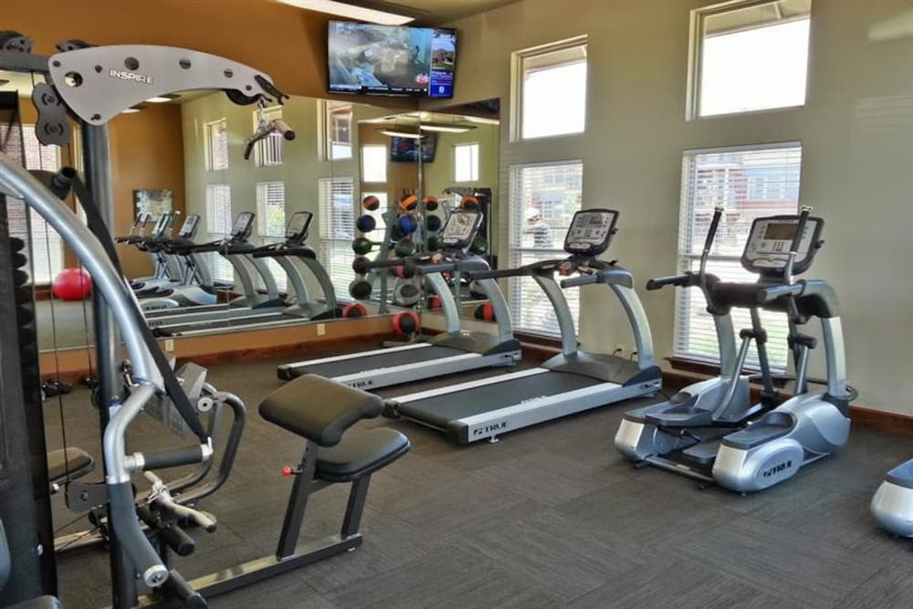 Fitness area at The Icon at Lubbock in Lubbock, Texas