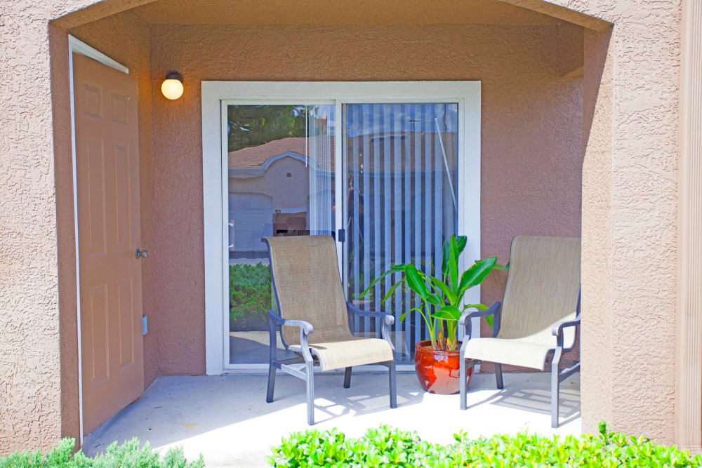 Apartment patio at Legends Winter Springs in Winter Springs, Florida