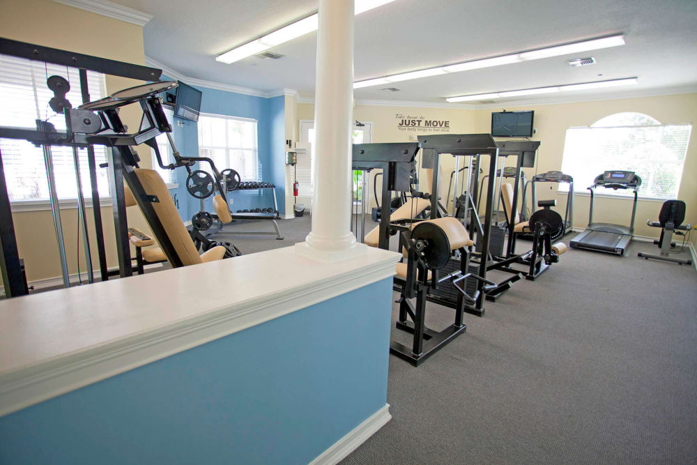 A spacious fitness center at Legends Winter Springs in Winter Springs, Florida
