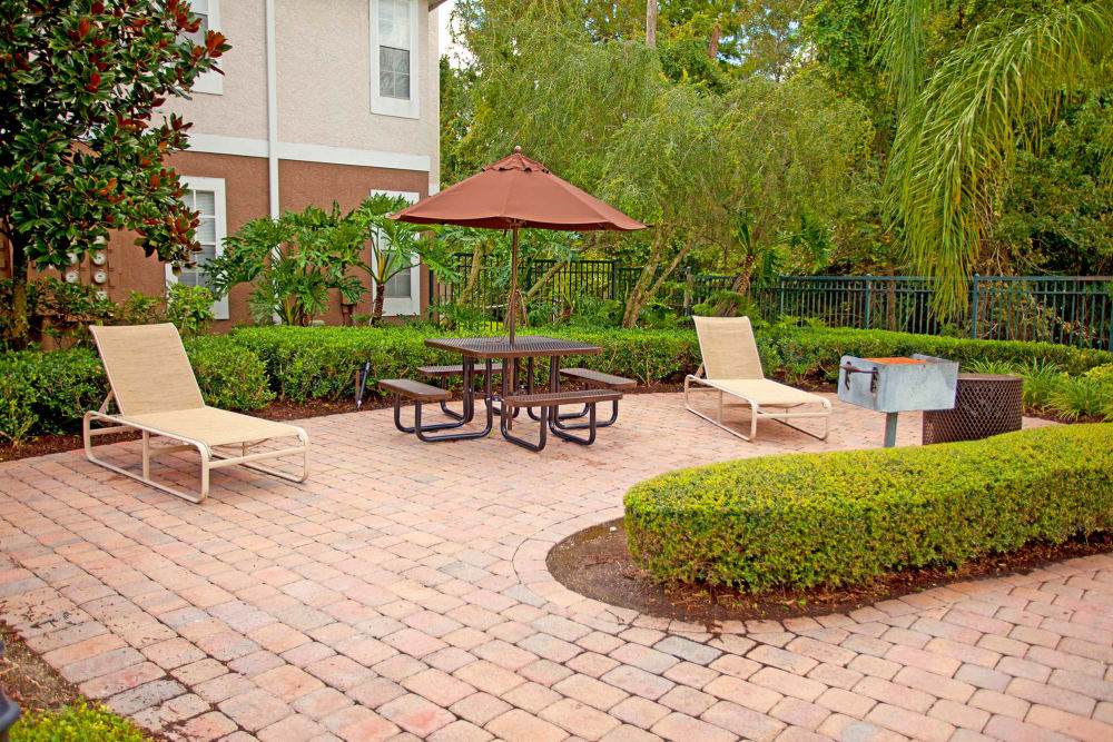 Outdoor patio seating at Legends Winter Springs in Winter Springs, Florida