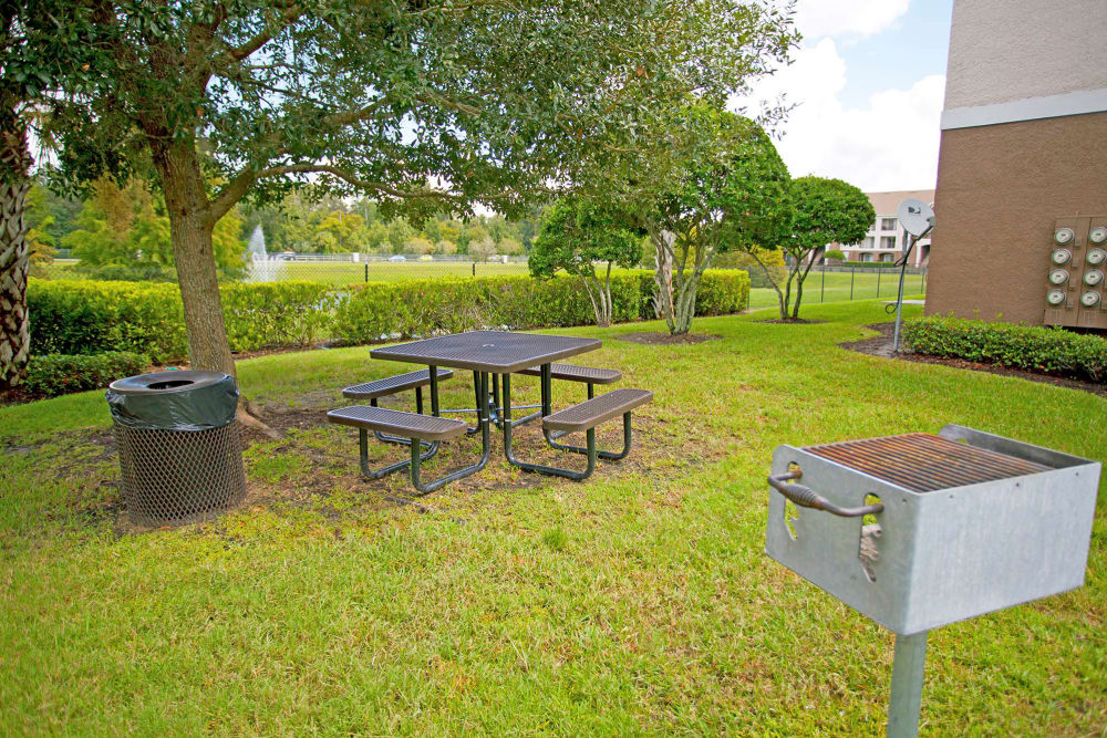 Picnic tables at Legends Winter Springs in Winter Springs, Florida