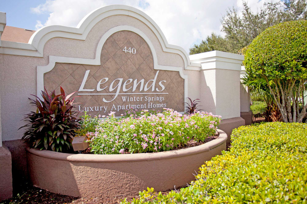 Sign at the entry to Legends Winter Springs in Winter Springs, Florida